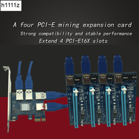 PCI Express 16X Slots Riser Card PCI E 1X To External 4 PCI E Slot Adapter