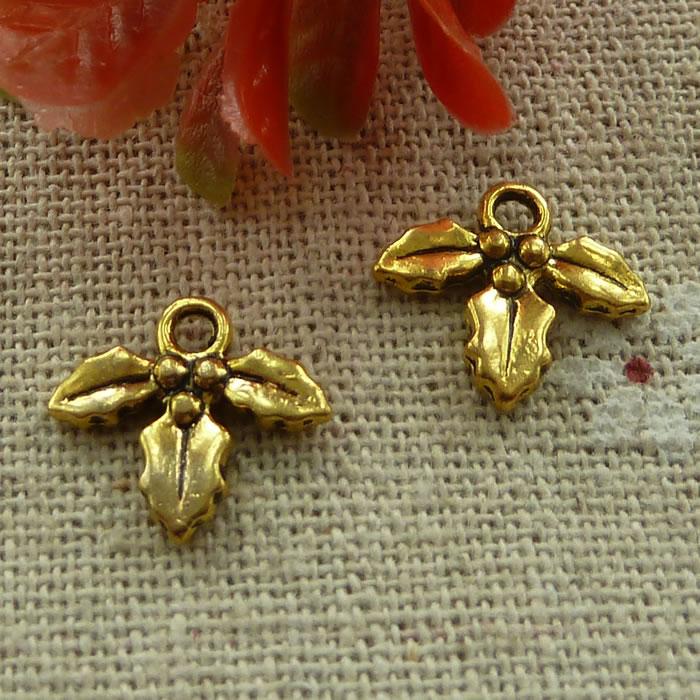 360 штук античные золотые подвески в виде листьев 14x12 мм #2494