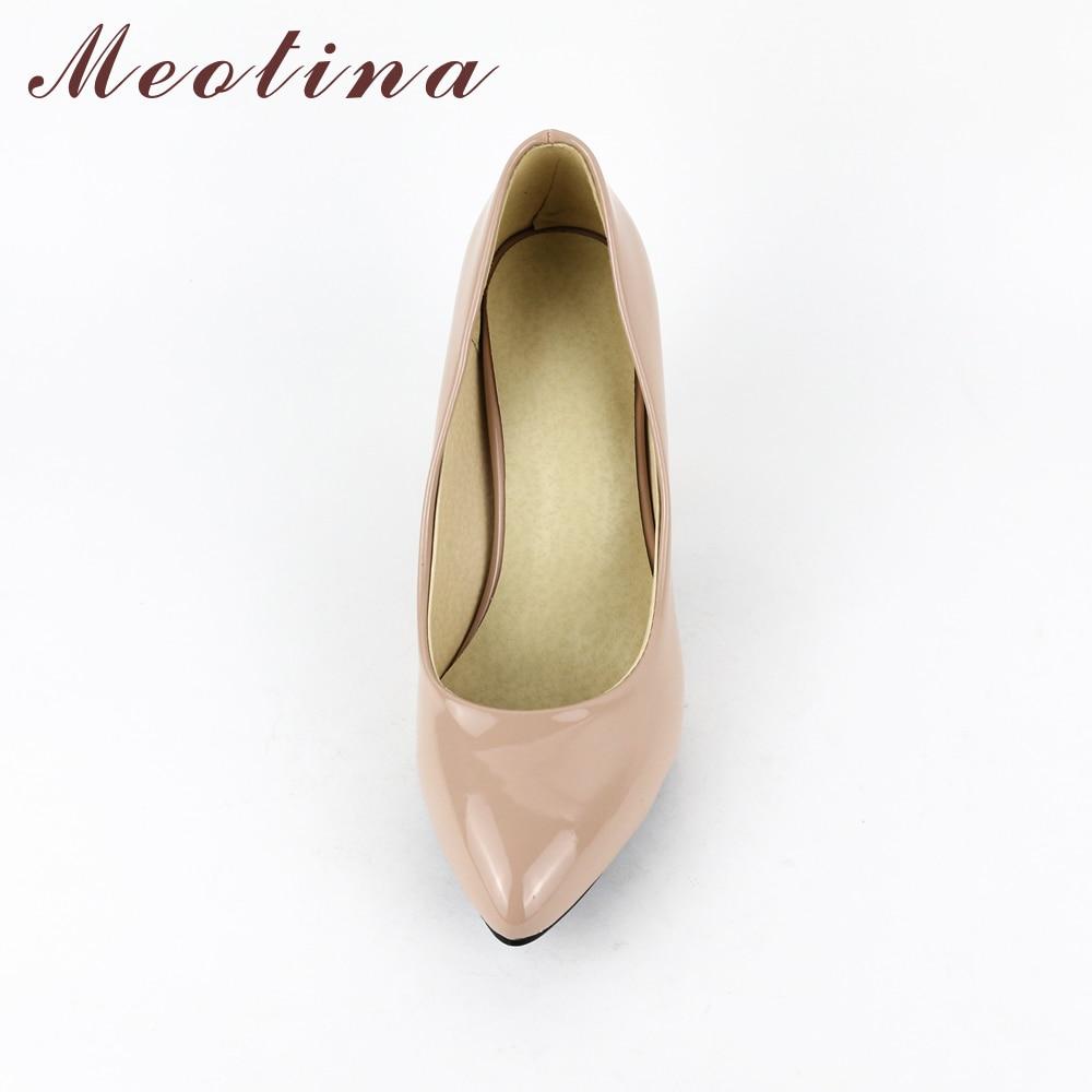 Meotina High Heels Schuhe Frauen Weiß Hochzeit Schuhe Dicke High - Damenschuhe - Foto 3