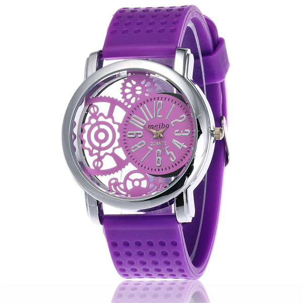 лучшая цена MEIBO 2087 women Fashion Silicone Watch Casual Women Dress Quartz Watches Clock purple