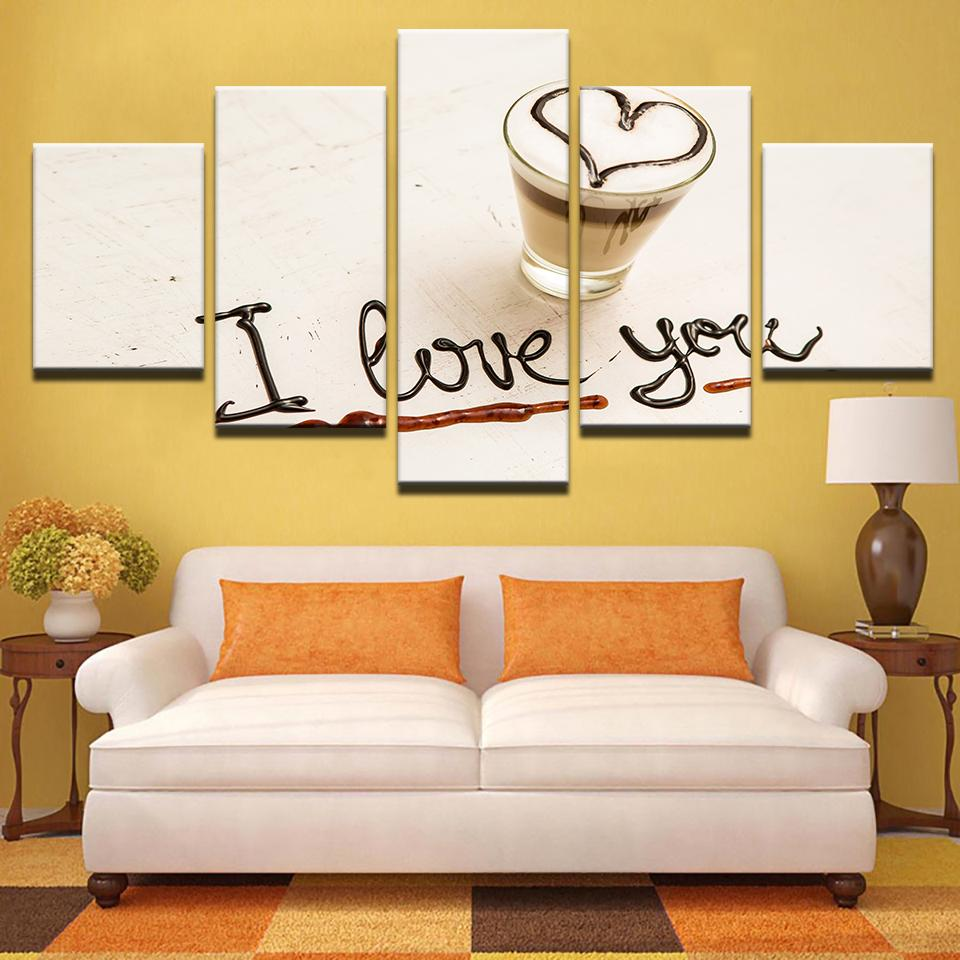 Wall Picture Print Painting Modular Coffee Poster 5 Panel I Love You ...