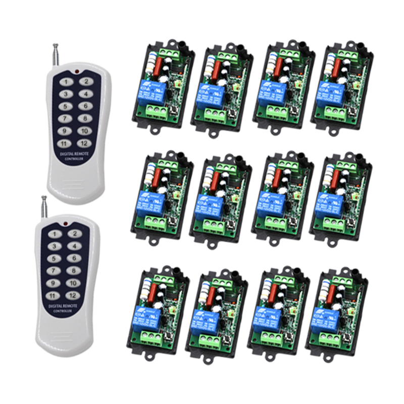 One Set 1-Channel Digital Wireless Remote Control Power Lamp Light Switch 1CH Receiver 12 Buttons Transmitter x2 220V 110V  4296 ac 220 v 1 ch wireless remote control switch system 4x transmitter with 2 buttons 1 x receiver light lamp ledon off 315 433mhz