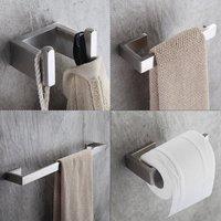 4 Piece/set 304 Stainless Steel Bath Hardware Sets Bathroom Accessories Set Single Towel Bar, Robe Hook, Paper Holder