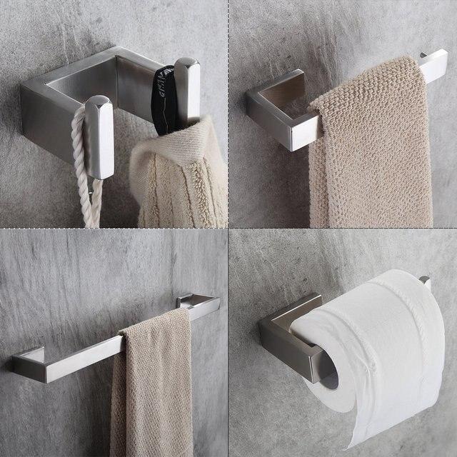 Flg 4 Teil Satz 304 Edelstahl Bad Hardware Sets Badezimmer Zubehor Set Einzigen Handtuch Bar Robe Haken Papier Halter