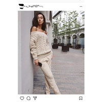 Sales in Europe and America high quality 2018 tee twist collar sweater hedging Pedicure pants two piece mink cashmere fashion