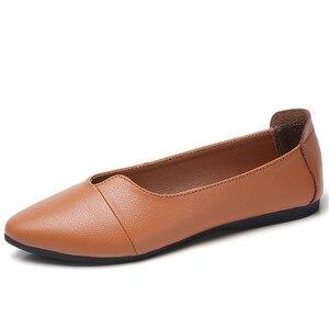 Image 2 - BEYARNE נעלי נשים מזדמנים עור אמיתי מוקסינים גבירותיי נהיגה בלט נעל אישה נשי מוקסינים דירות אמא FootwearE083