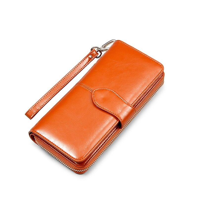 New Arrival Zipper Wallet Lady Multifunctional Cattlehide Purse Long Style Zipper Hasp Western Style Closure Huge