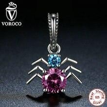 Voroco araña colgantes de los encantos fit pandora pulseras de plata de ley 925 para las mujeres y los granos de la joyería ingredientes c047