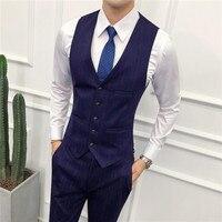 mens vest waistcoat pants Slim fit men stripe vest size S XXXL male pant 2019