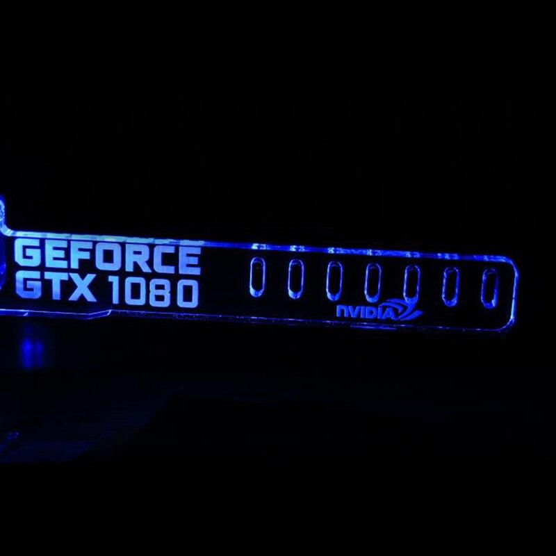Новейшие Синий GEFORCE GTX 1080 ЕГО СВЕТОДИОДНЫЕ Светящиеся Настольные Основная Коробка Крутой Графикой Пользовательских Поддержка Рамка Дисплея Карты Компонентов Разъем