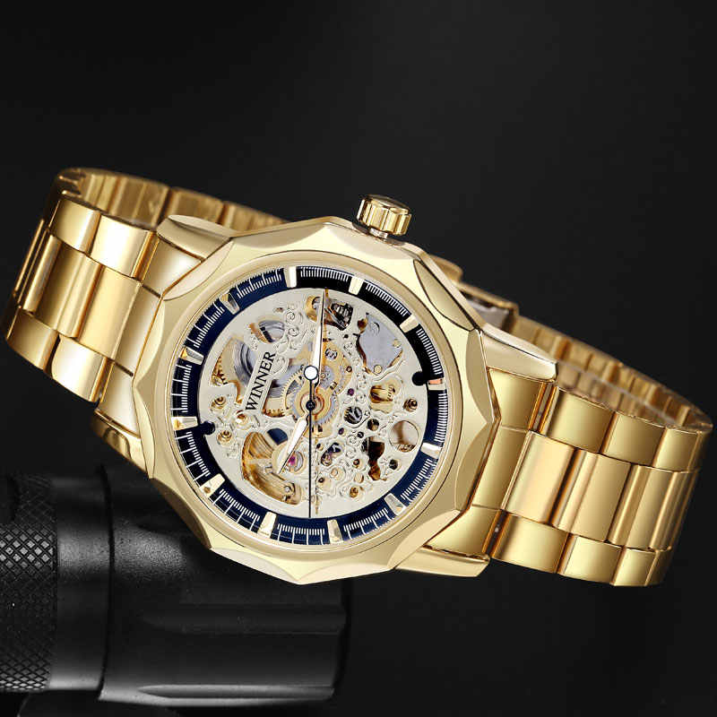 Relojes de marca WINNER para hombre, relojes de pulsera de esqueleto mecánico, reloj de viento automático a la moda, banda de acero dorado, reloj masculino