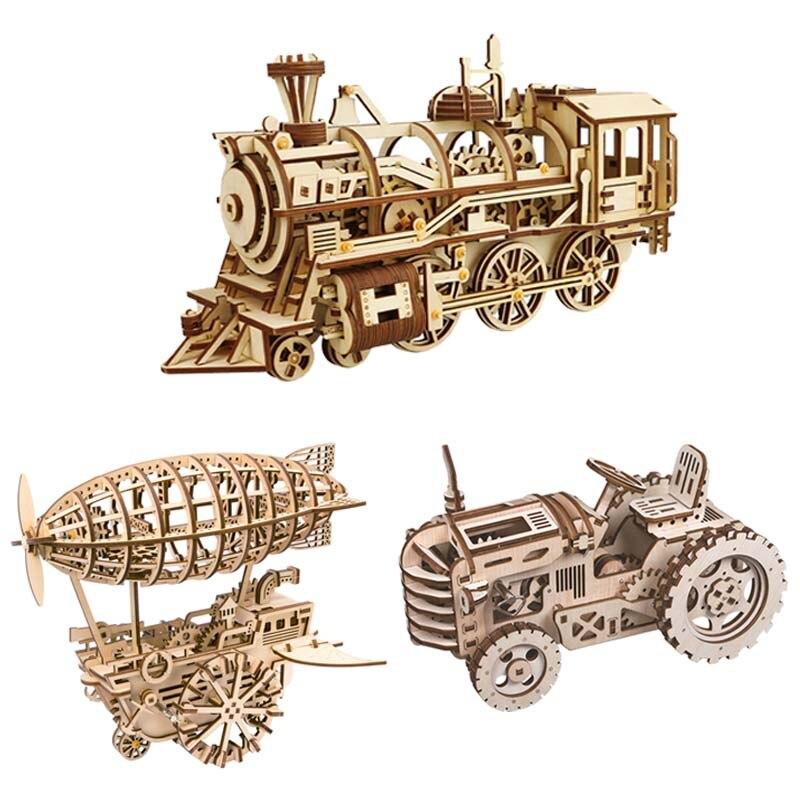 Bricolage mécanique engrenage entraînement Locomotive tracteur mobile dirigeable Trains 3D en bois modèle Kits de construction jouets loisirs cadeau pour les enfants
