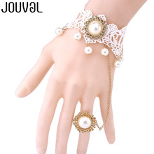 JOUVAL Vintage White Lace Finger Bracelet Women Wedding Jewelry Chain With Simulated Pearl Hand Bracelet&Bangle Gothic Accessory(China)