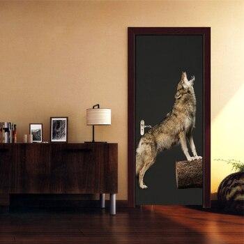 HD 3D Print Woof Poster PVC Waterproof Entire Door Sticker Creative Stickers Door Wall Sticker DIY Mural Bedroom Home Decor