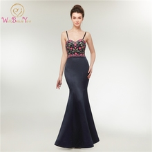 Navy Blue Mermaid Evening Dresses 2019 Sweetheart Neck Formal Party Dress Spaghetti Straps Robe Soiree Femme Lace Up Prom Gowns