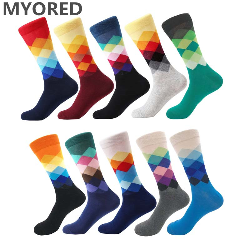 MYORED Male Tide Brand men cotton   Socks   Gradient Color summer Style long wedding   sock   Men's Knee High Business   Socks   man sox