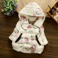 Children's Clothing Winter baby parka coat Kids Girls cotton-padded jacket down Rose Print Kids Hooded Coat Baby cotton jacket