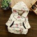 Parka casaco de Inverno Roupas de bebê Crianças das crianças Meninas de algodão-acolchoado jacket para baixo Subiu de Impressão Crianças Bebê Casaco Com Capuz jaqueta de algodão