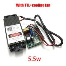 5,5 watt high power 450NM fokussierung blau laser-modul laser gravieren und schneiden TTL modul 5500 mw laserröhre + googles