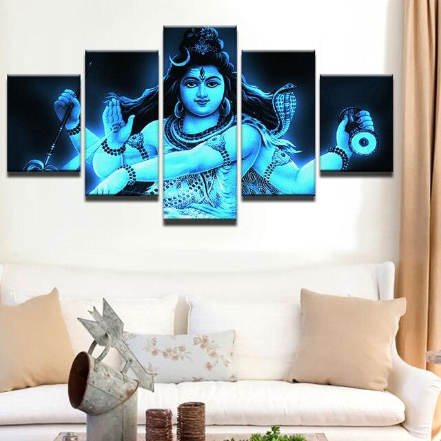 leinwand hd print bilder wohnkultur wohnzimmer rahmen 5 stucke indien tibetischen gott shiva malerei mahesvara poster