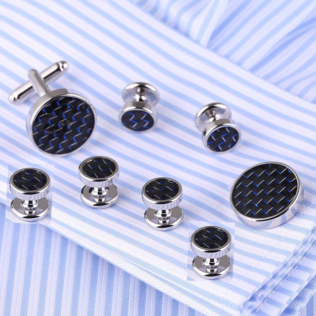 Vagula Fiber Cufflinks Collar Studs 8pcs Aaa Tuxedo Cuff Links Jewelry 529
