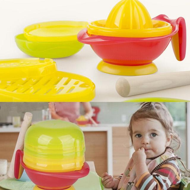 Baby Kid Learn Dishes Grinding Bowl Handmade Grinding Food Supplement Children Infant Food Mill set Q2