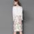 Por Megyn 2 Peça Feminina Conjunto Ocasional Ternos Rendas Cor Sólida Tops + Print Floral Na Altura Do Joelho Saia Mulheres Bodycon Vestido 14269