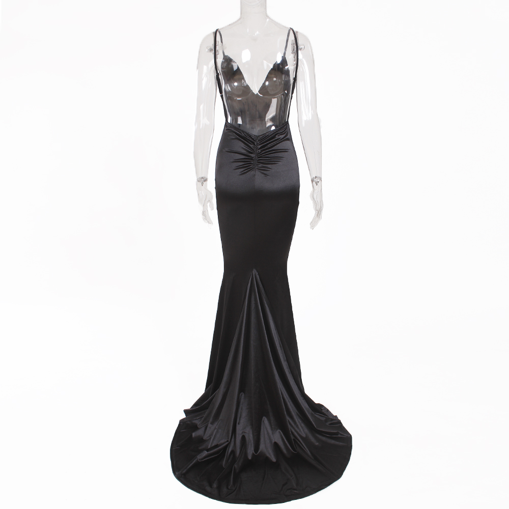 Deep V-Neck Burgundy Satin Mermaid Open Back Long Evening Dress 39