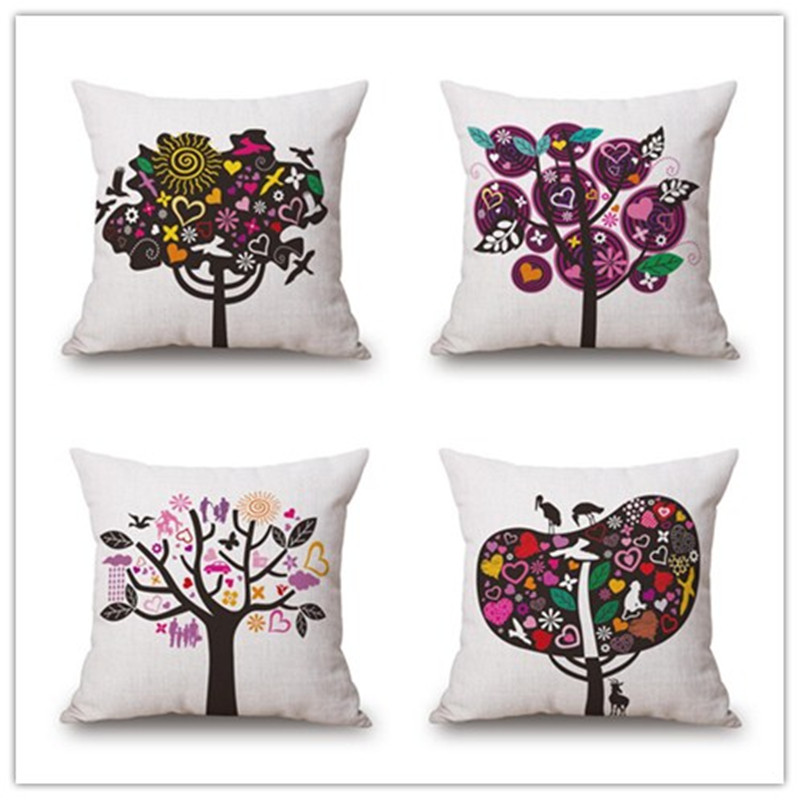 Flower trees style <font><b>Home</b></font> Decorative Pillow <font><b>Elegant</b></font> Plant Printed Throw Pillow Car <font><b>Home</b></font> <font><b>Decor</b></font> Fundas Linen Cotton Cushion Cojines
