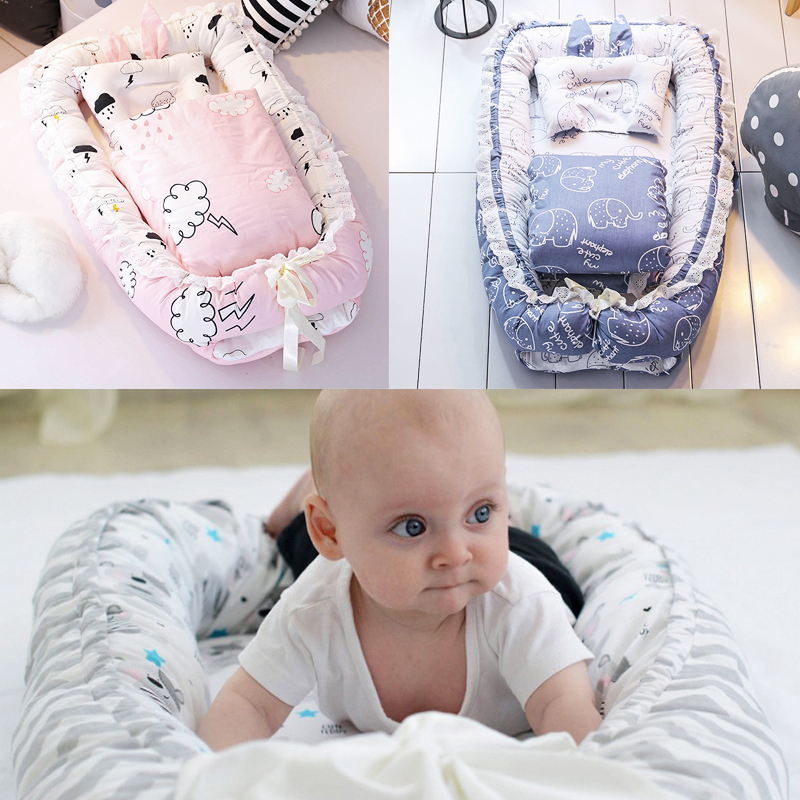 Portable Baby Crib Bed Washable with Quilt Infant Crib Bedding Sets Foldable Newborn Cot Nest Baby