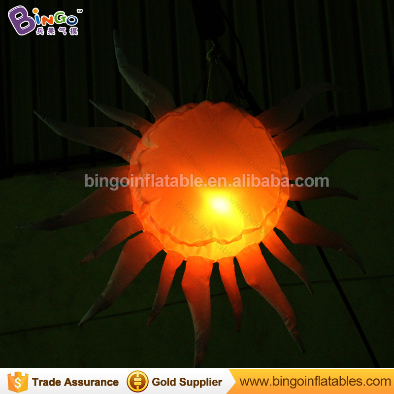 Hot sale hanging 80CM inflatable LED lighting sun shape decoration with color changing/sun replica light-up ballon/sun toy