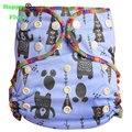 Happyflute pañal del bebé carta fuerte ai2 pañales de tela de bambú algodón y terciopelo os bebé napp1pcs paquete impermeable de pañales