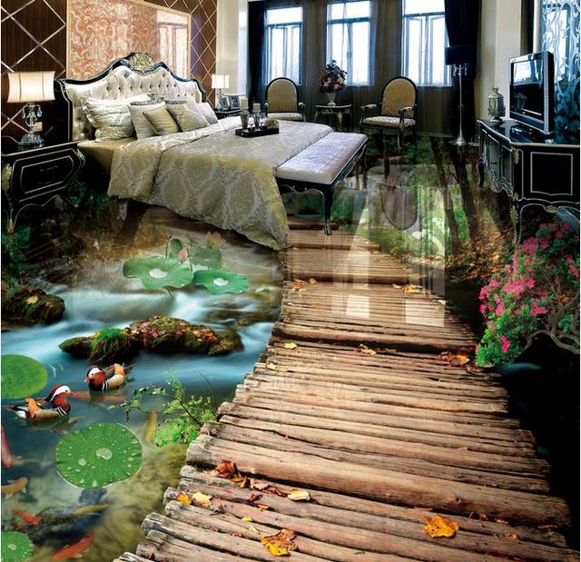 Custom Tile Flooring Bathroom Bridge Water 3d Floor Stickers Waterproof  Soundproofing Self Adhesive Floor Wallpaper