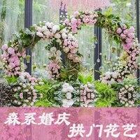 Luxury Round arch wedding Centerpiece Metal flower Arch Door roses Flower backdrop For Wedding background decor