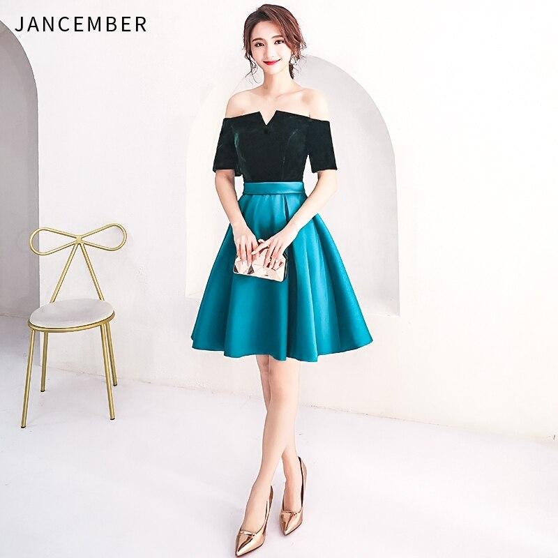 JANCEMBER 2019 Latest Cocktail Dress Satin Illusion Off The Shoulder Short Sleeve Lace Up Back Simple Elegant Vestidos Social