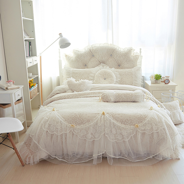 Korean Princess Lace Bedding Set Winter Fleece Thick Sets Full Queen King Size Bedskirt Duvet Cover Bedsheet Linens