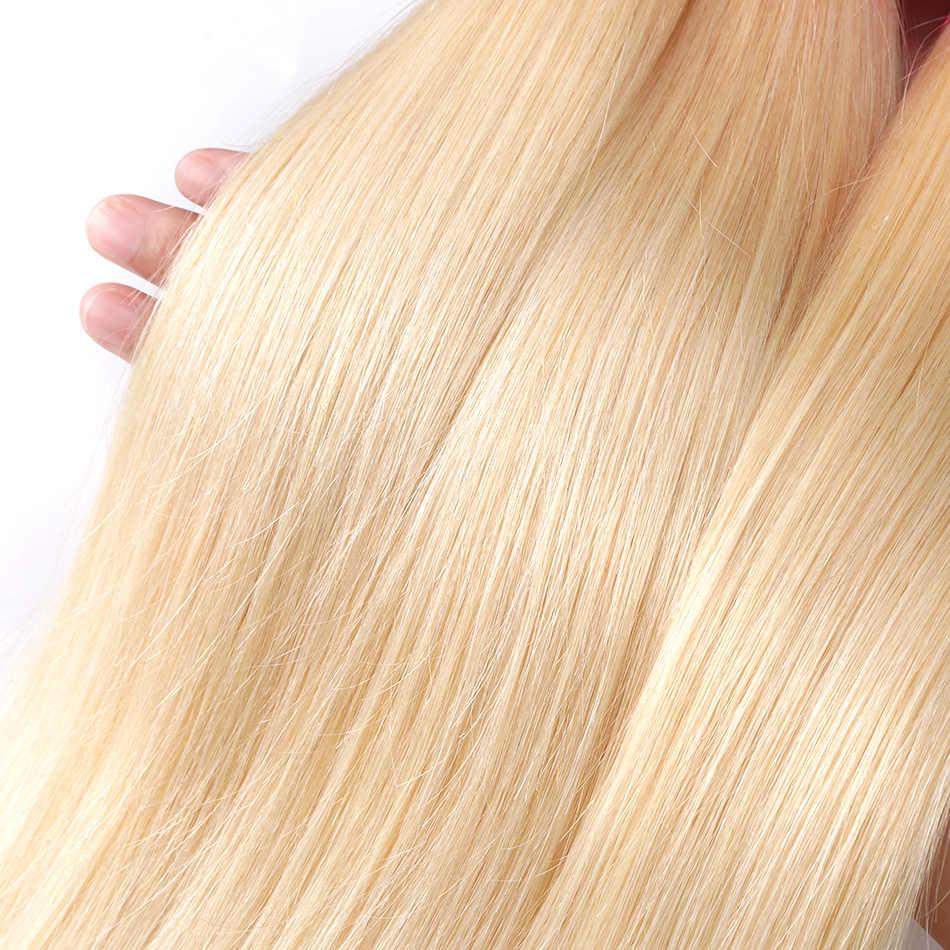 Luvin 1 3 4 Demetleri 30 40 42 44 Inç Uzun Brezilyalı Remy Düz Çift Çekilmiş 613 sarı insan saçı Örgü Demetleri uzantıları