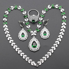 Hot Selling Siver Color Wedding Jewelry Sets For Women Green Cubic Zirconia Necklace/Earrings/Rings/Pendant  js35