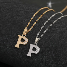 Cursive 26 English Initial Alphabet P name Necklace tiny word Letter monogram charm Metal Engagement necklace