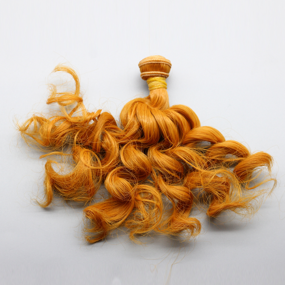 15cm * 100cm kerinting coklat falxen rambut palsu rambut hitam emas - Anak patung dan aksesori - Foto 3