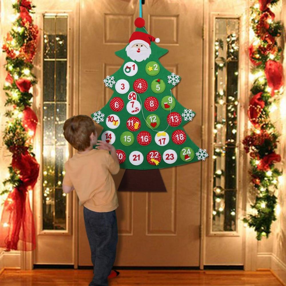 Aytai Felt Advent Calendar Christmas Tree Advent Calendars for Kids 2019 24 Days Countdown Calendar Wall Hanging Christmas Decoration