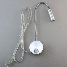 110V 220V New 3w led flexible hose plug wall lamps bedside reading bending lamp mirror make-up painting lights LED sconces room