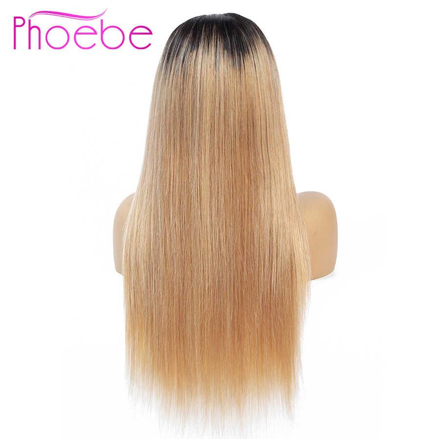 Phoebe 4*4 Омбре блонд кружева перед парик черный 1B/27 Омбре кружева передние человеческие волосы парики для женщин Remy Малайзия парик средний часть