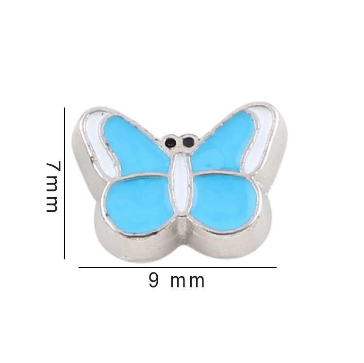 Lo más nuevo, 20 unids/lote, amuleto flotante de mariposa de colores esmaltado, medallón de memoria viva, joyería de mujer