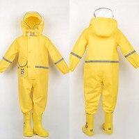 85 130CM boys girls raincoat for children,hood waterproof rain coat for children jumpsuit rain,students rain coat kids poncho