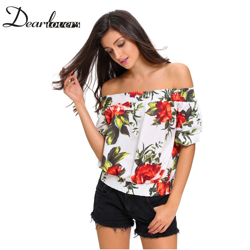 Dear Lover Autumn Women Off Shoulder Crop Top 2017 White Flower Print Half Sleeve Blouse Shirt Blusas Casuales Mujer Lc25875 Top Uk Fashion Designers Top 10 Qwerty Mobile Phonestop Selling Sewing Machines