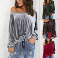 Velvet Off Shoulder Shirt Vintage Strappy Bow Long Sleeve Hoodies Women Casual Pullover Tops