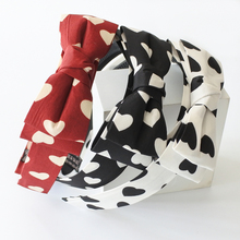 Two Layers Bow Hair Bands For Teen Girls White And Black Hearts Hair Bow Headbands With Teeth Kids Hair Accessories 2017 New