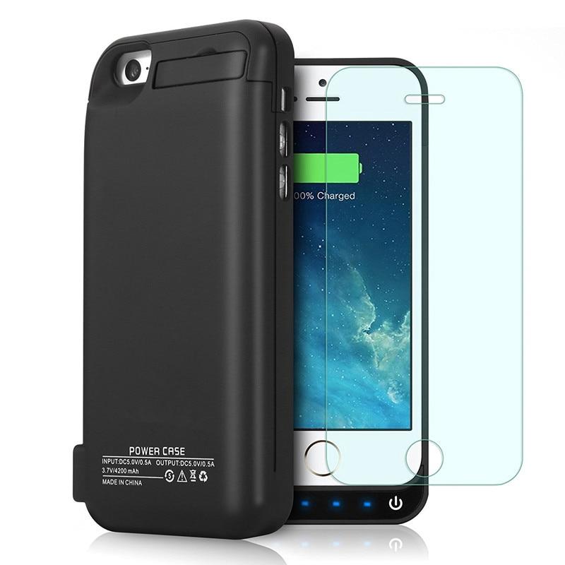 imágenes para Venta caliente Caja del Teléfono Batería Externa Portable 4200 mAh Banco de Potencia Caso del Cargador de reserva Para el iphone 5 5c 5S SÍ Caja de Batería