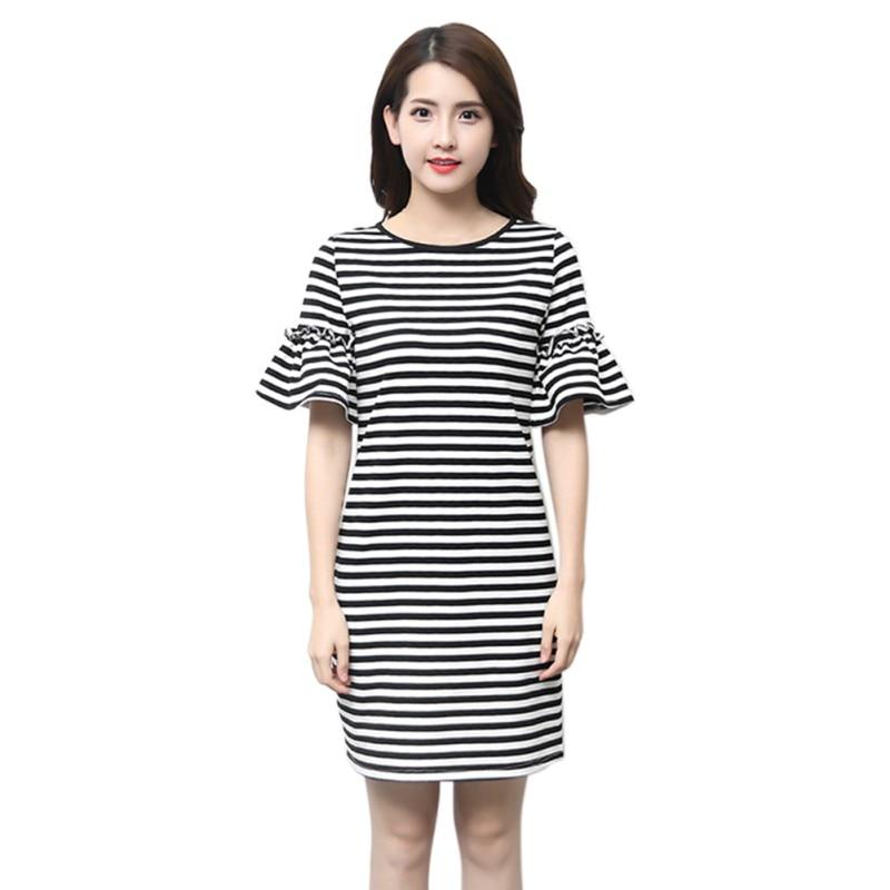 Women Fashion Sweet Summer Striped Short Sleeve Shirt Dresses New Casual Female Vestidos Mini Slim Dress H7